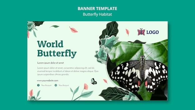 Modèle de bannière de concept d'habitat papillon