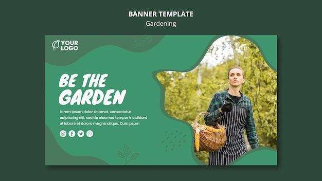 Modèle de bannière de concept de jardinage