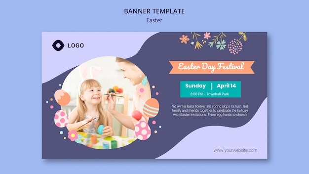 Modèle de bannière avec le concept de jour de pâques