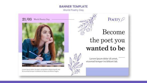 Modèle de bannière de concept de journée mondiale de la poésie