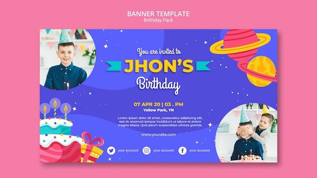 Modèle de bannière de concept joyeux anniversaire