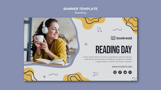 Modèle de bannière de concept de lecture
