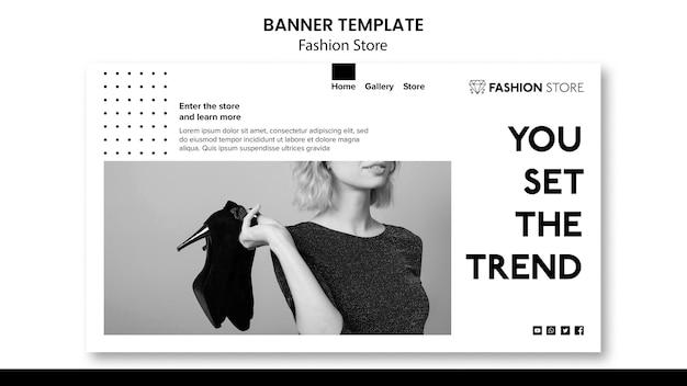 Modèle de bannière de concept de magasin de mode