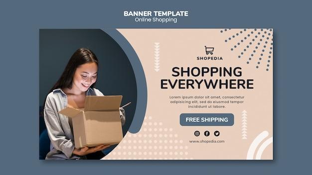 Modèle de bannière avec concept de magasinage en ligne