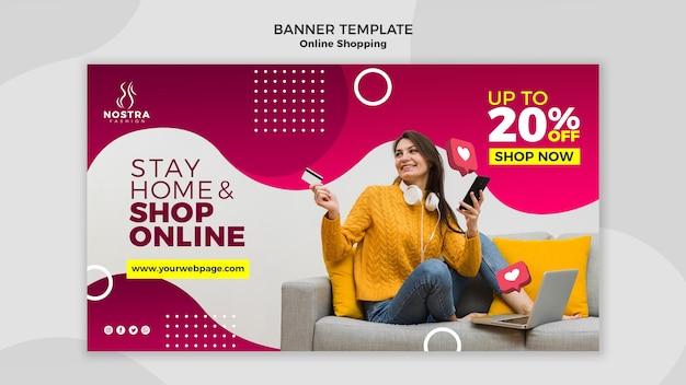 Modèle de bannière de concept de magasinage en ligne