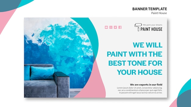 Modèle de bannière de concept de maison de peinture