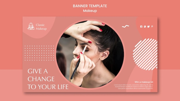 Modèle de bannière de concept de maquillage