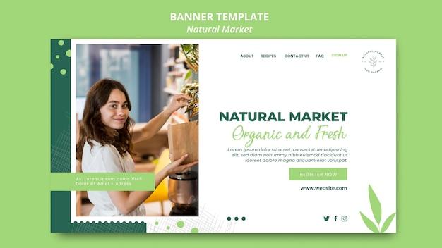 Modèle de bannière de concept de marché naturel