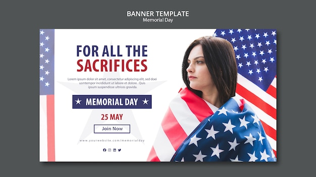 Modèle de bannière concept memorial day