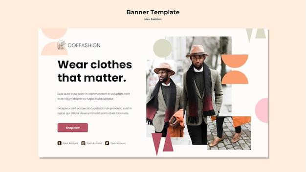 Modèle de bannière de concept de mode homme
