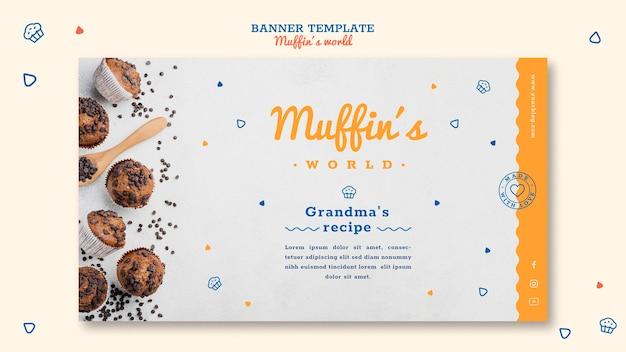 Modèle de bannière de concept de muffins