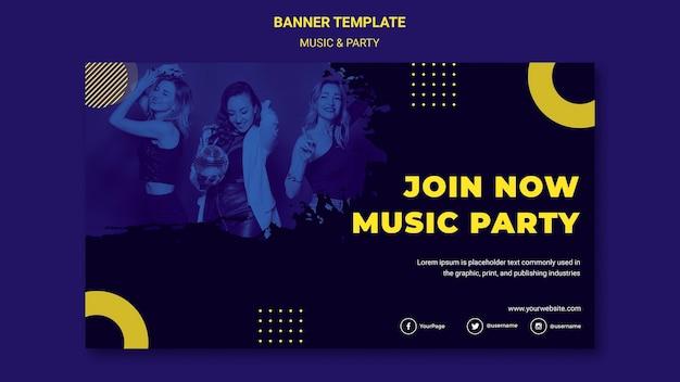 Modèle De Bannière De Concept De Musique Et De Fête Psd gratuit