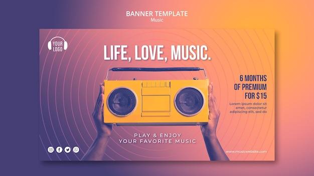 Modèle de bannière de concept de musique