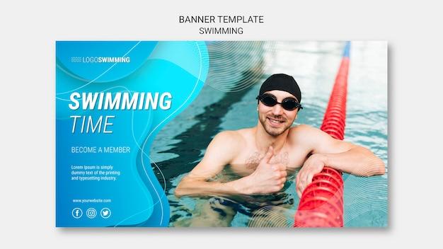 Modèle de bannière avec concept de natation