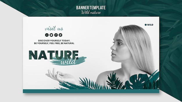 Modèle de bannière avec concept de nature sauvage