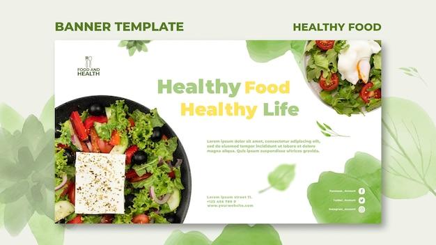 Modèle de bannière de concept de nourriture saine