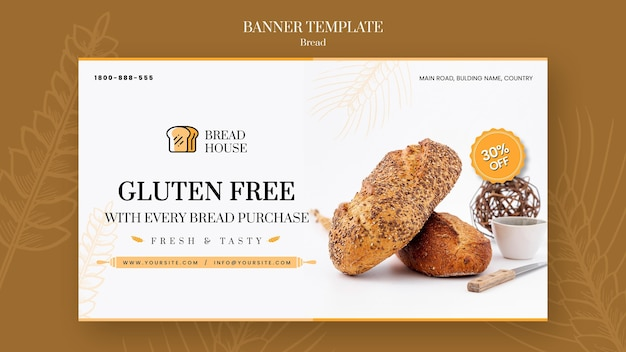 Modèle de bannière de concept de pain