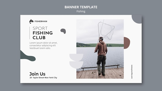 Modèle de bannière de concept de pêche