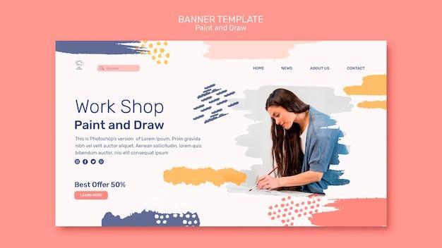 Modèle de bannière de concept de peinture et de dessin
