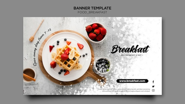 Modèle de bannière de concept de petit déjeuner