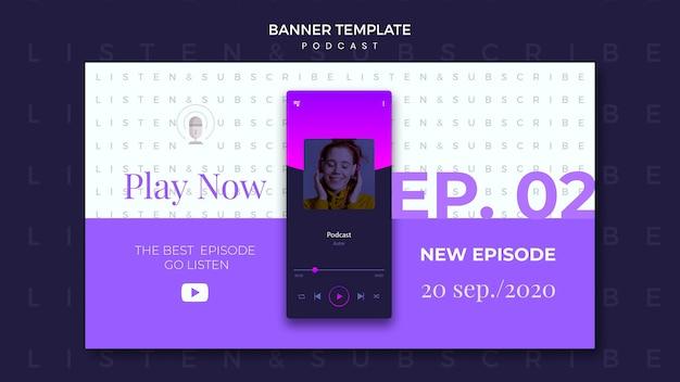 Modèle de bannière de concept de podcast