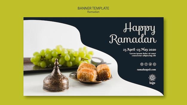 Modèle de bannière de concept de ramadan heureux