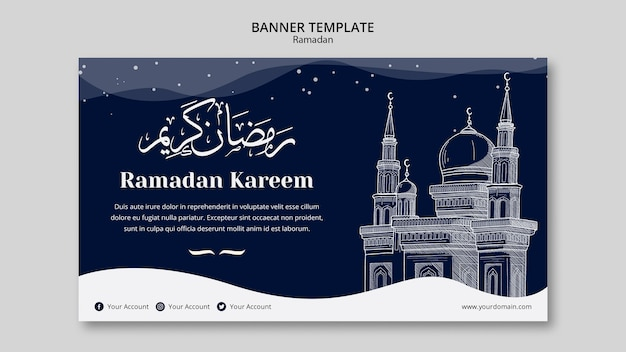 Modèle de bannière de concept de ramadan