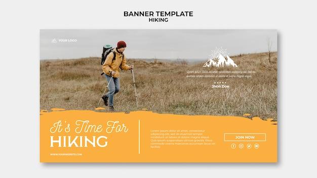 Modèle de bannière de concept de randonnée
