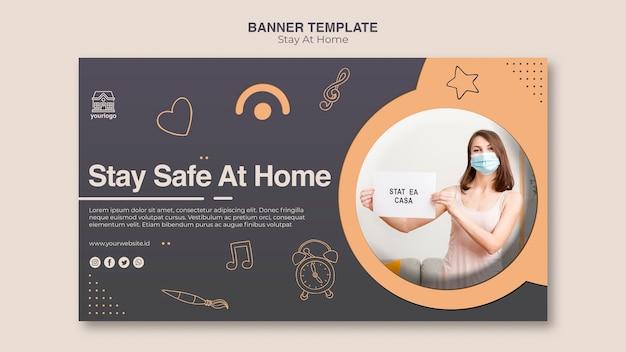 Modèle de bannière de concept rester à la maison
