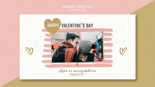 Modèle de bannière de concept de la saint-valentin