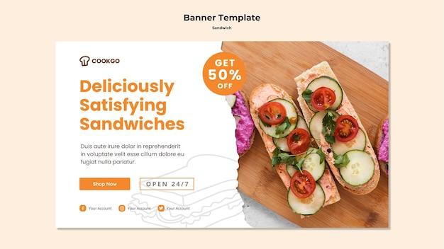 Modèle de bannière de concept de sandwich