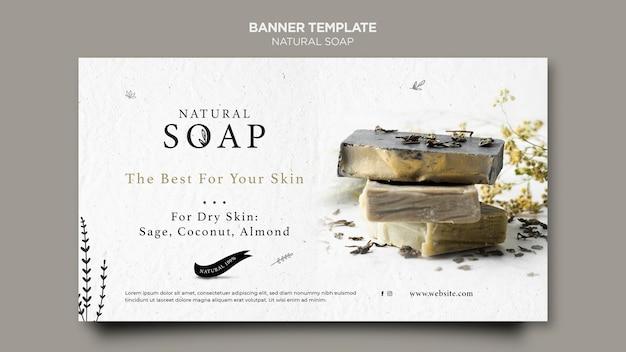Modèle de bannière de concept de savon naturel