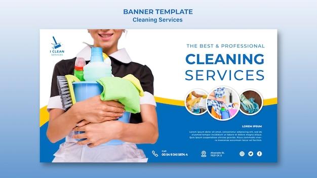 Modèle de bannière de concept de service de nettoyage