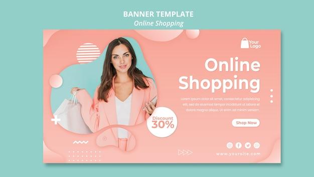 Modèle de bannière avec concept de shopping en ligne