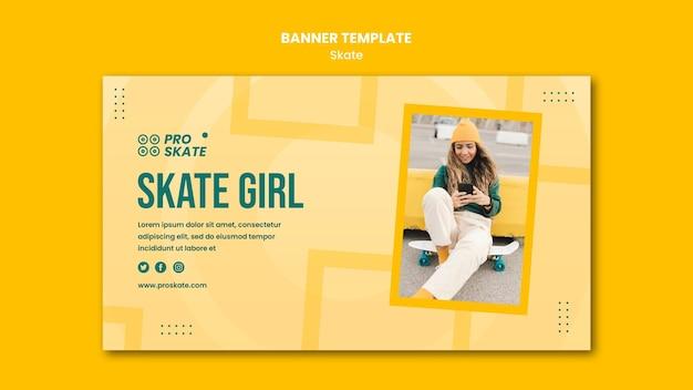 Modèle de bannière de concept de skate