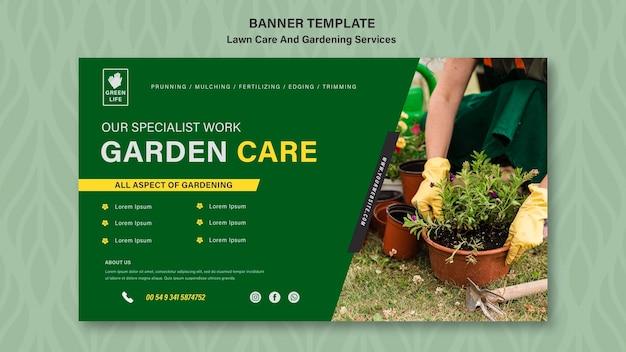 Modèle de bannière de concept de soins de pelouse