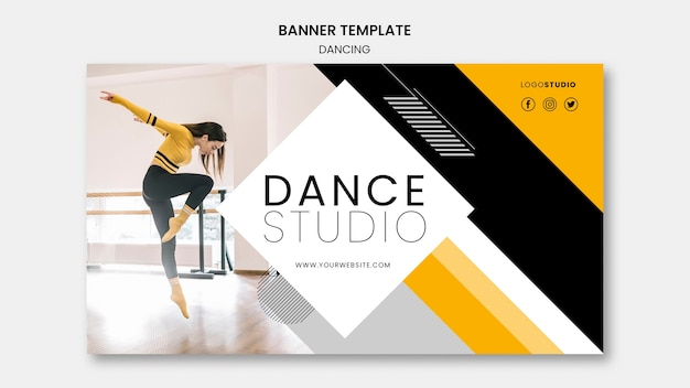 Modèle de bannière avec concept de studio de danse