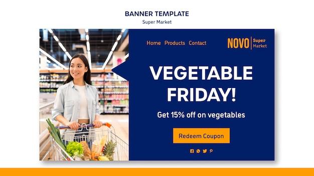 Modèle de bannière de concept de supermarché