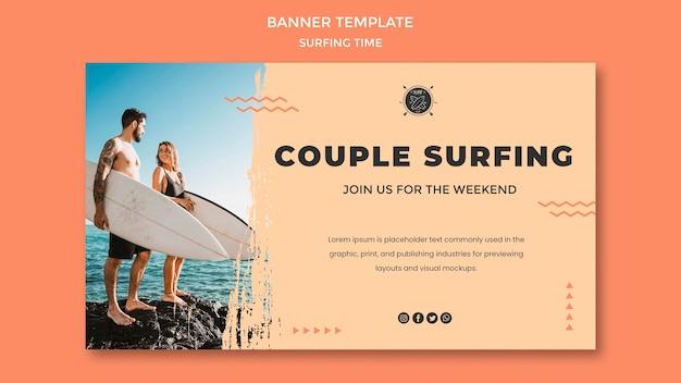 Modèle de bannière de concept de surf