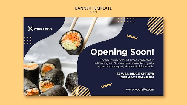 Modèle de bannière de concept de sushi
