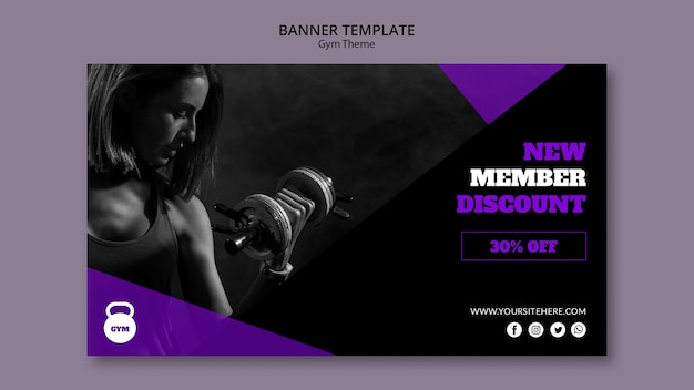 Modèle de bannière de concept de thème de gym