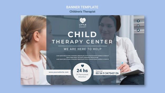 Modèle de bannière de concept de thérapeute pour enfants