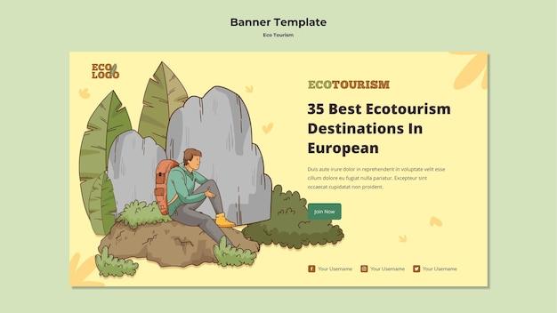 Modèle de bannière de concept de tourisme écologique