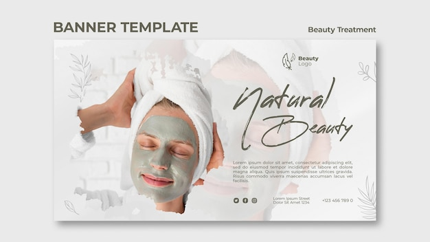 Modèle de bannière de concept de traitement de beauté