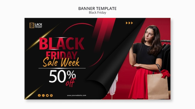 Modèle de bannière de concept de vendredi noir