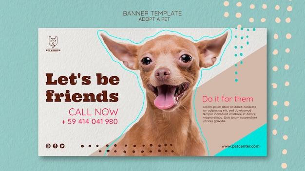 Modèle de bannière avec conception d'adoption pour animaux de compagnie