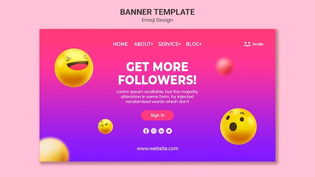 Modèle de bannière de conception emoji