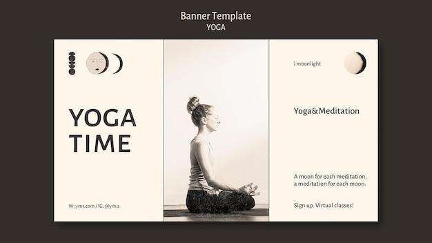 Modèle de bannière de conception incolore de cours de yoga