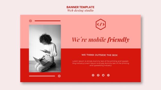 Modèle de bannière de conception de studio web