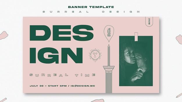 Modèle de bannière de conception surréaliste